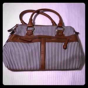 Nautical navy and white striped purse